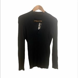Planet Gold black sweater v neck cutout detail